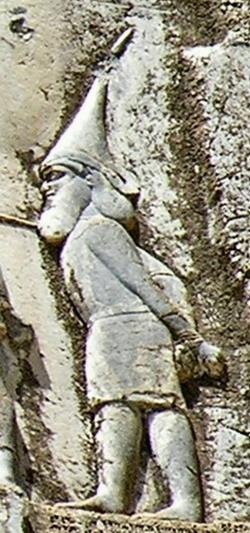 Król Saków Skuncha na reliefie z Behistunu