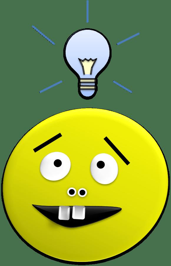Smiley face with an idea light bulb