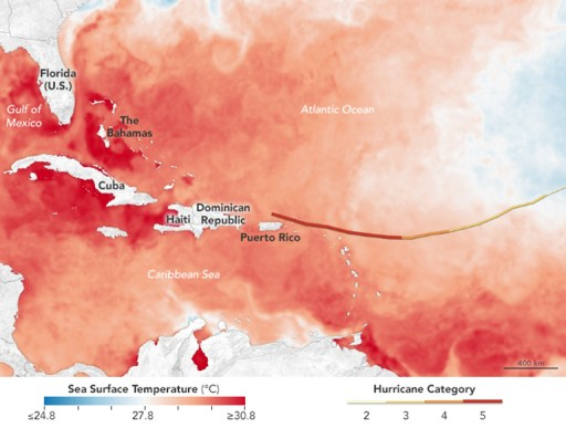 NASA Hot water ahead for Hurricane Irma