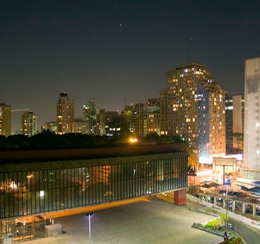 São Paulo Museum of Art, Brazil at nighttime