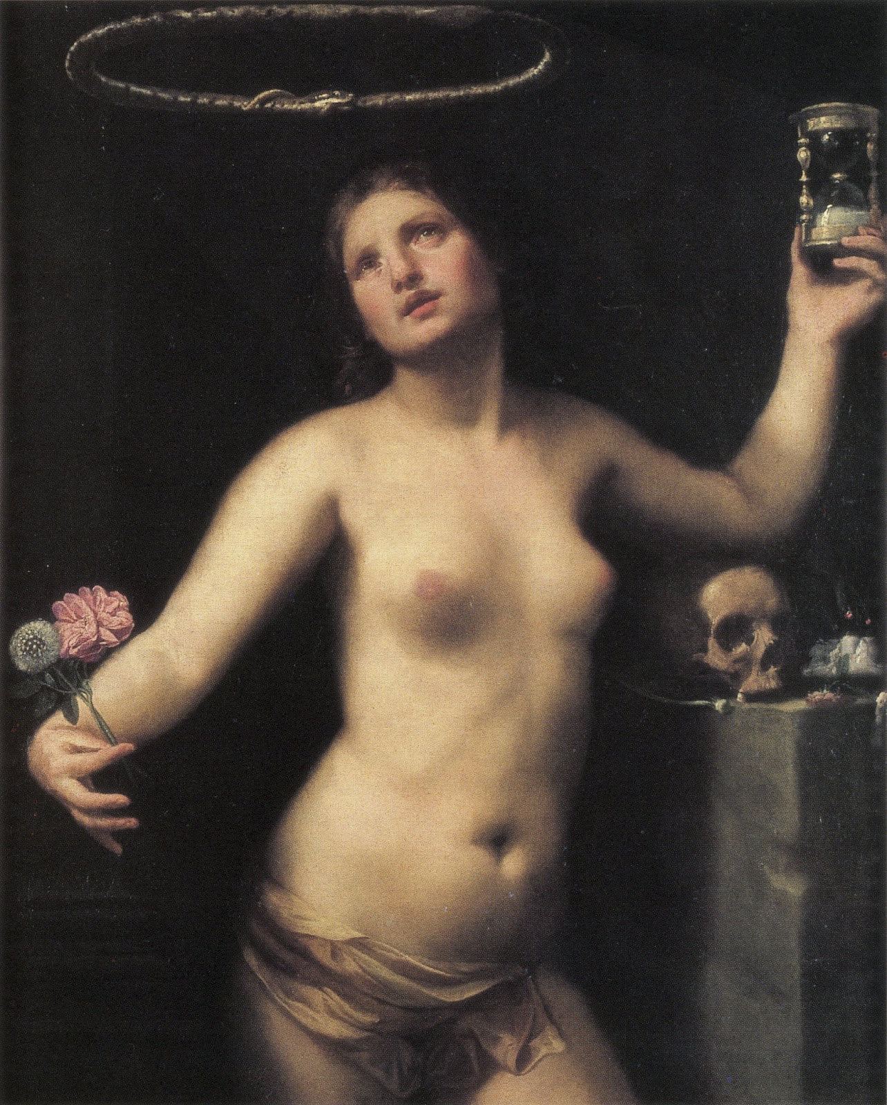 A woman holding flowers and an hourglass with one elbow propped on a skull, symbols of time, with an ouroboros, a symbol of the eternal, circling her head