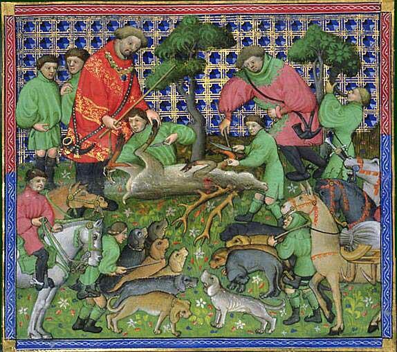 Illustration aus dem Le Livre de chasse de Gaston Phébus aus dem 15. Jahrhundert. Lizenz: public domain/gemeinfrei