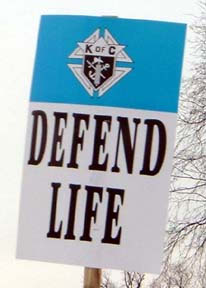 A Knights of Columbus sign at the March For Life.