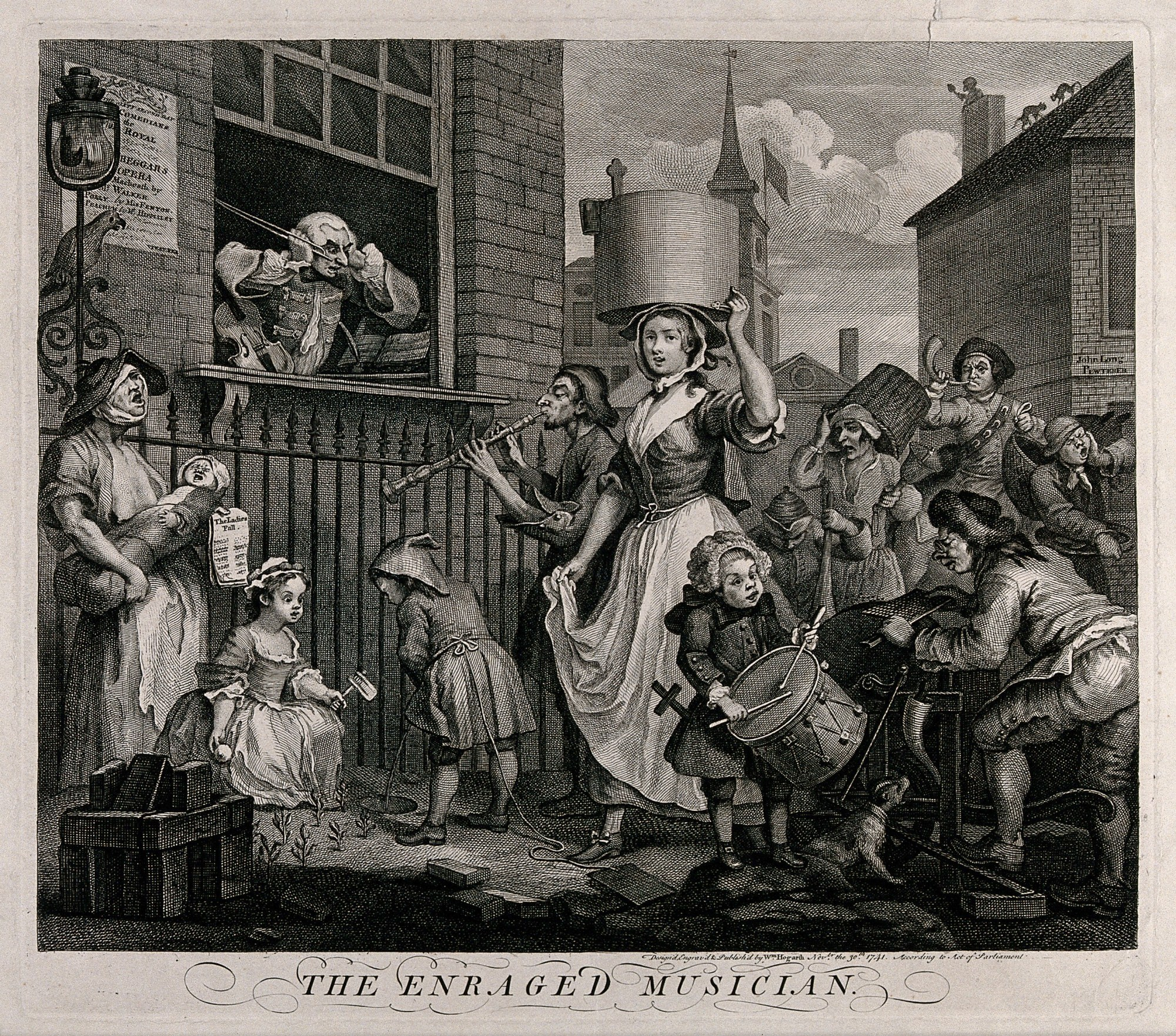 hight resolution of the enraged musician with a pregnant ballad seller at left
