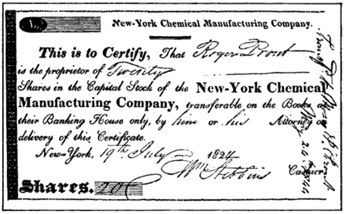 File:Certificate of Stock of Chemical Mfg Company 1824.png