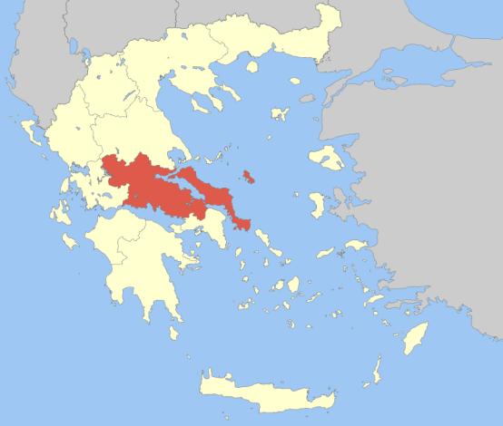 Χάρτης της Ελλάδας με Στερεάς Ελλάδας
