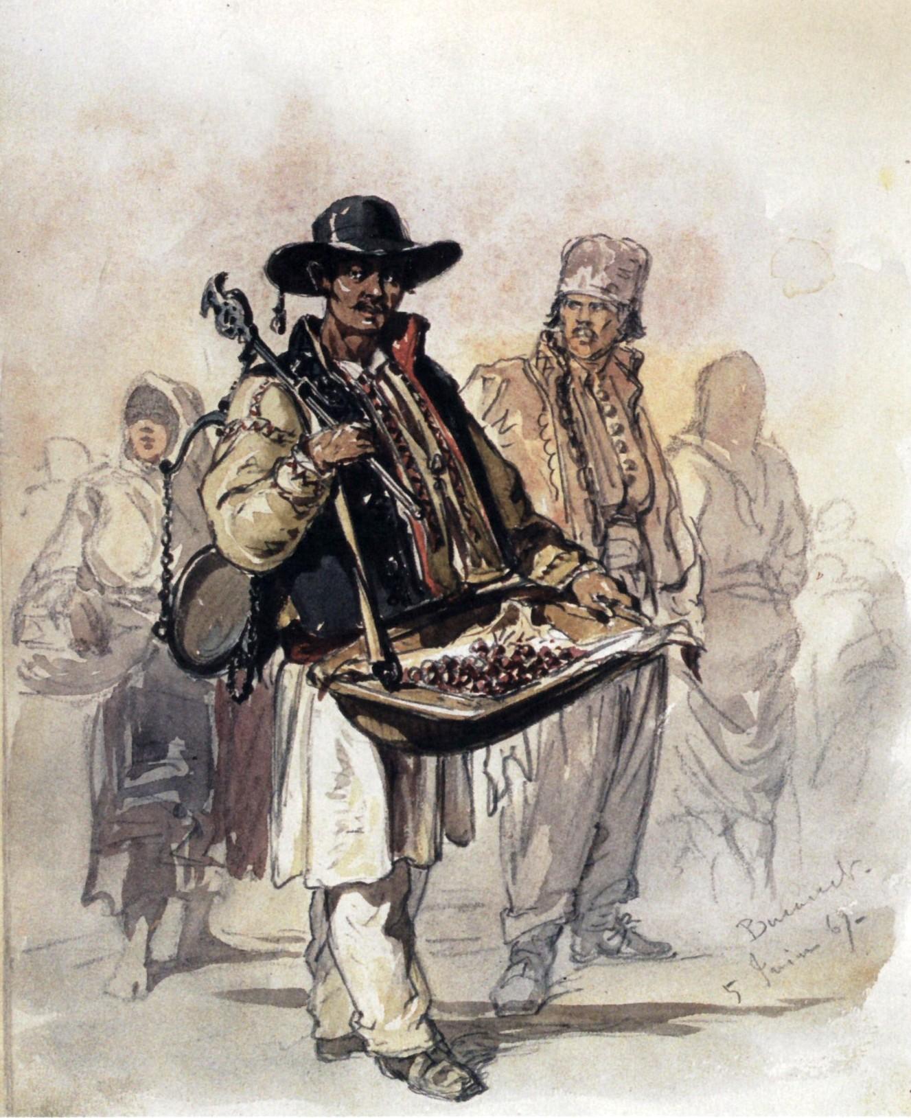 Cherry peddler in Bucharest, around 1869.