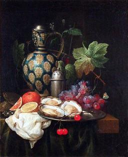 Son, Joris van - Stilleben mit Früchten, Austern und Krug
