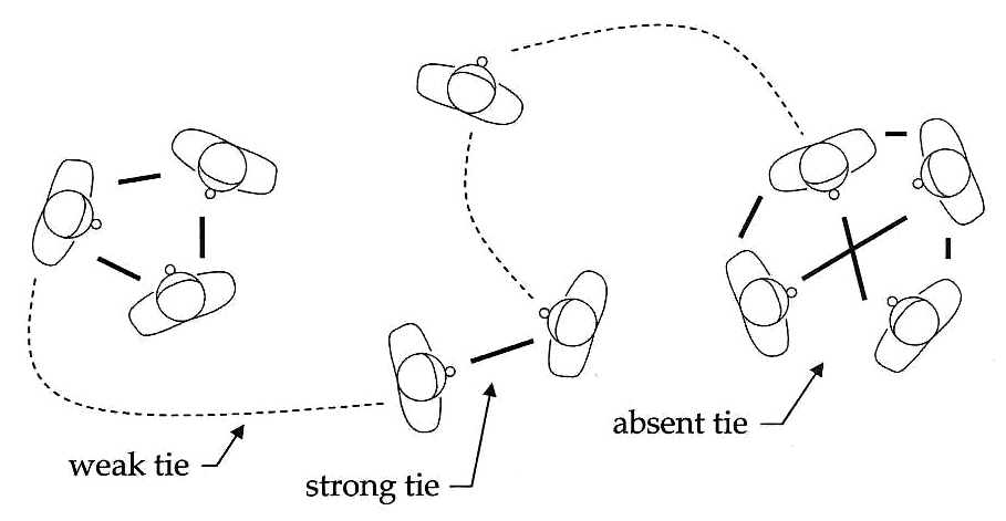 Weak vs. Strong Ties in a Social Network