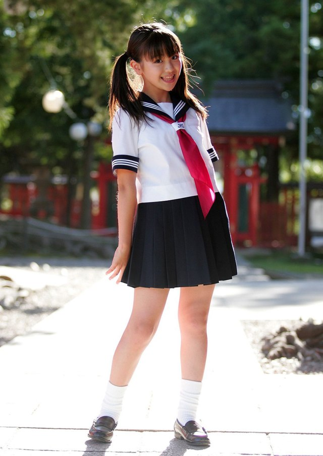 Japanese Junior Schoolgirl In Sailor Suit