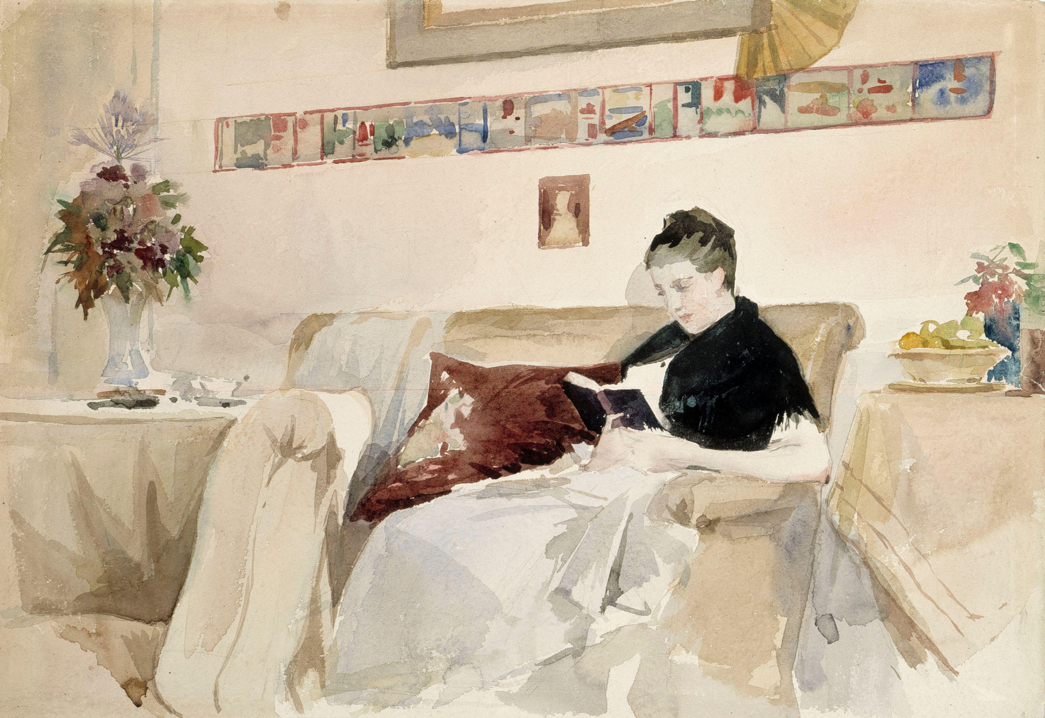 sofa art gallery teddy fabric reviews file albert edelfelt artist s wife reading on the a iii 2022 41 finnish national jpg