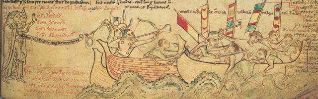 Eustace's death at the 1217 Battle of Sandwich (13th century illustration by Matthew Paris)