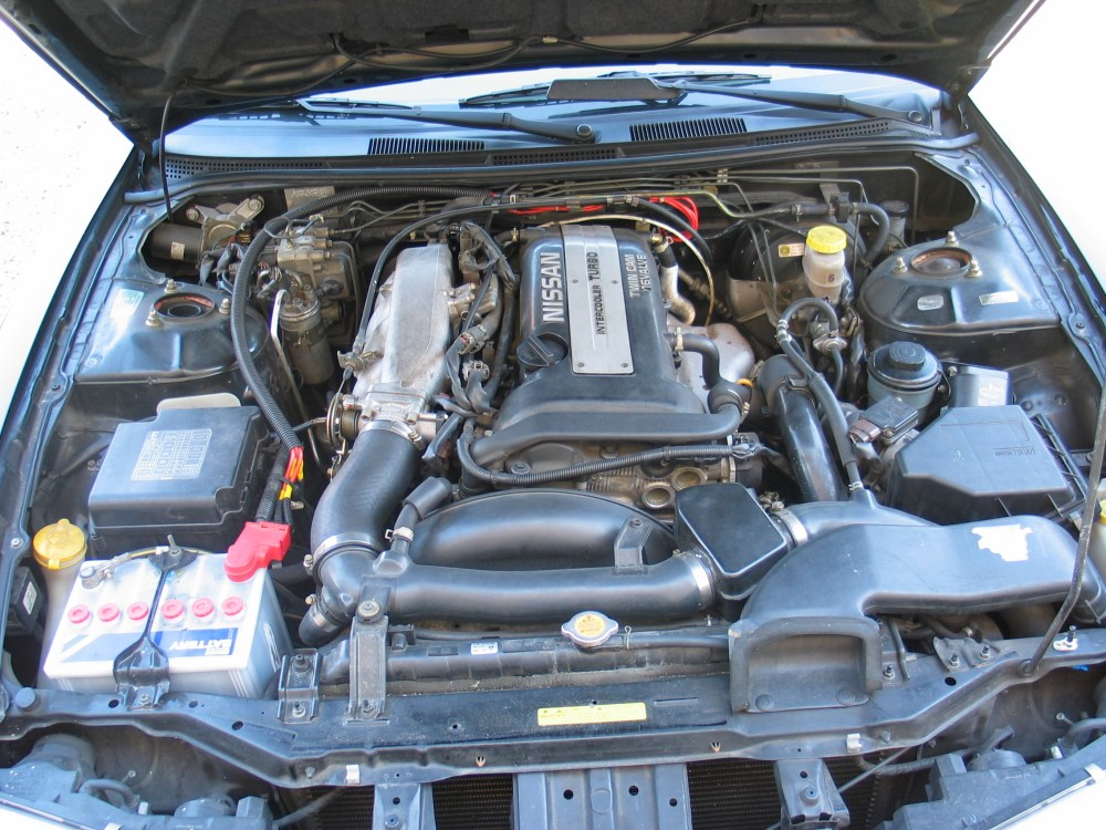 medium resolution of file nissan 200sx s14a engine bay stock jpg