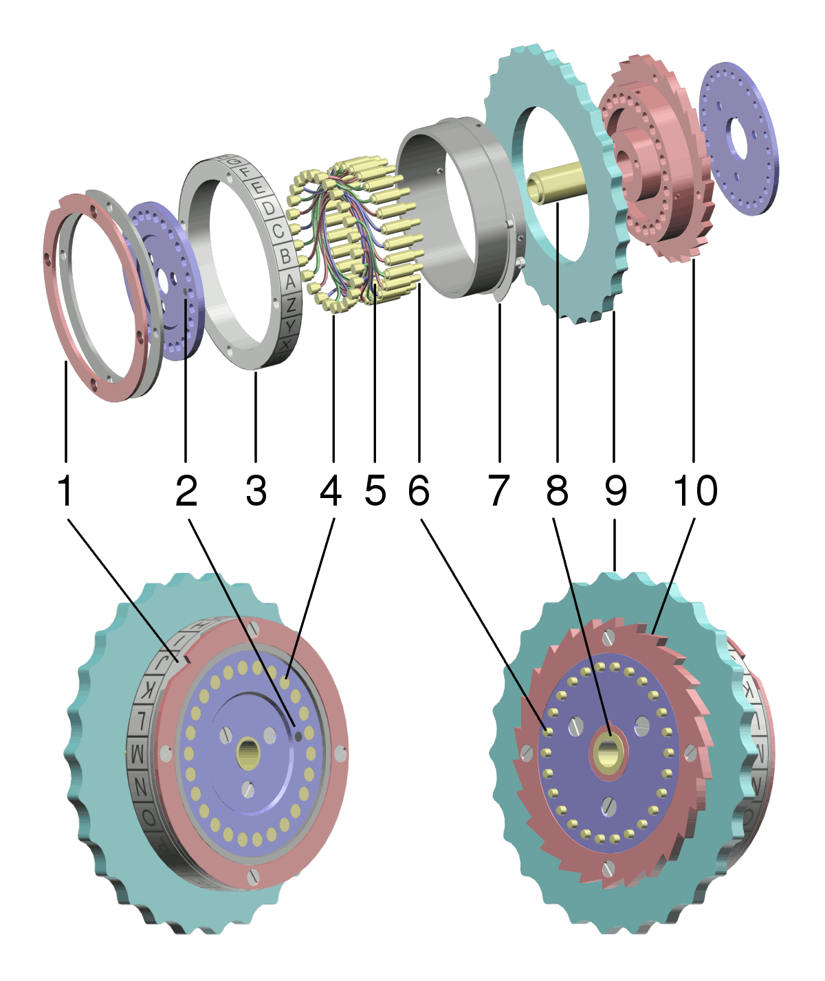 hight resolution of enigma rotor exploded view png