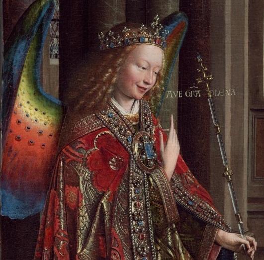 A picture of an oil painting available on Wikipedia showing one of the arch-angels named Gabriel when the angel made the announcement to Mary
