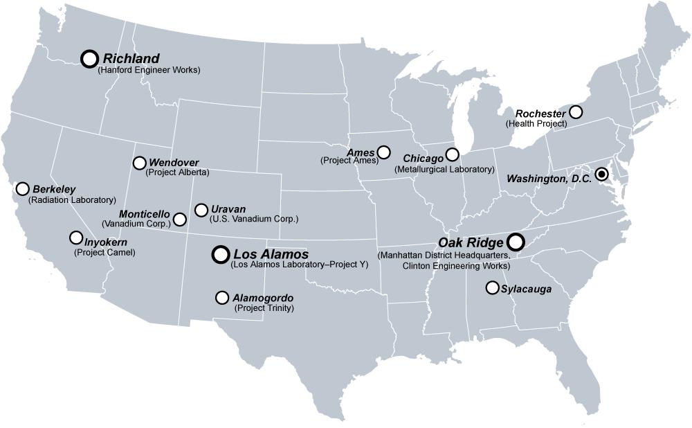 A Manhattan Projekt kutatóközpontjai
