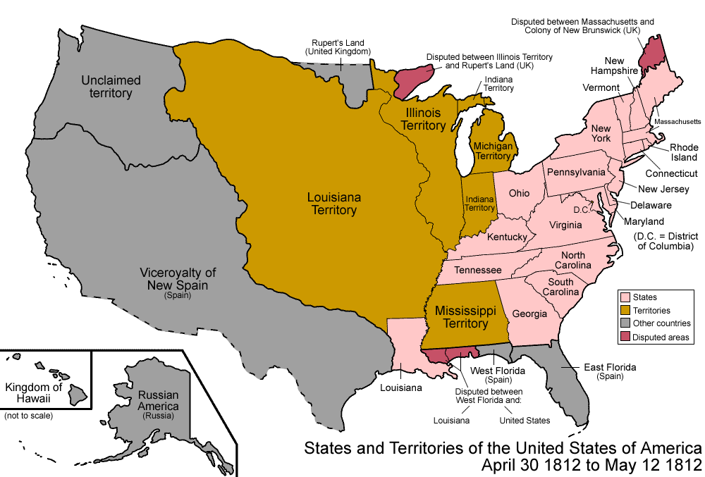 Map of the states and territories of the Unite...