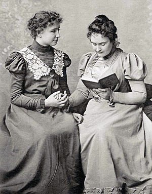 Helen Keller and Anne Sullivan in 1898. On the...