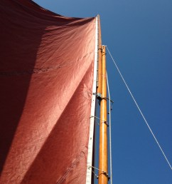 sliding gunter sail rig on drascombe lugger onkahye [ 2448 x 3264 Pixel ]
