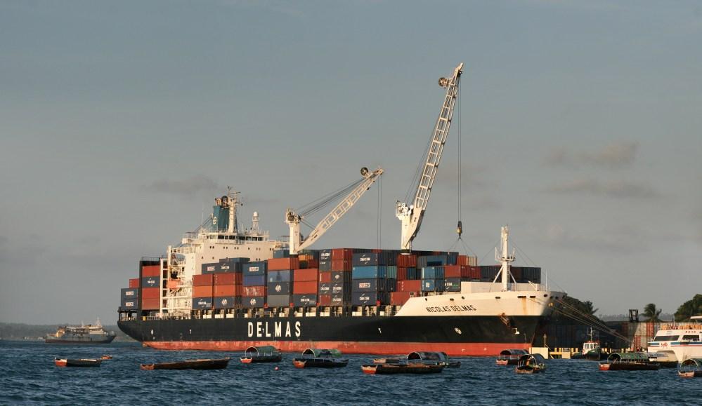 medium resolution of a delmas container ship unloading at the zanzibar port in tanzania