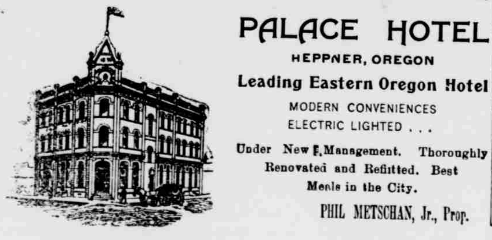 File:1904 Palace Hotel Advertisement in Heppner, Oregon