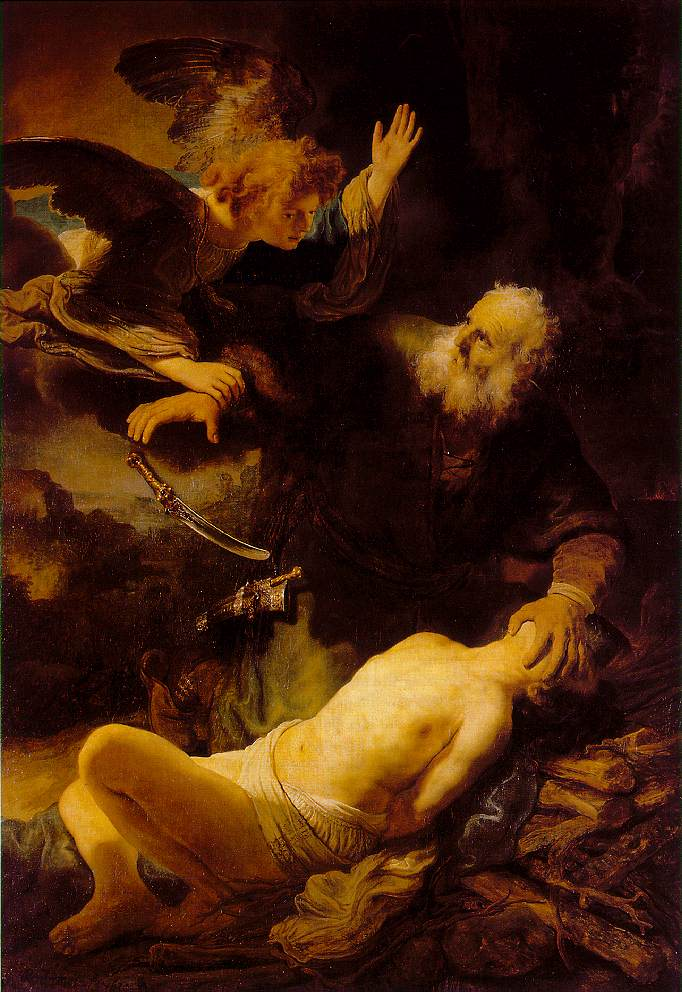 child sacrifice -- depiction of Abraham sacrificing Isaac by Rembrandt is available on wikipedia