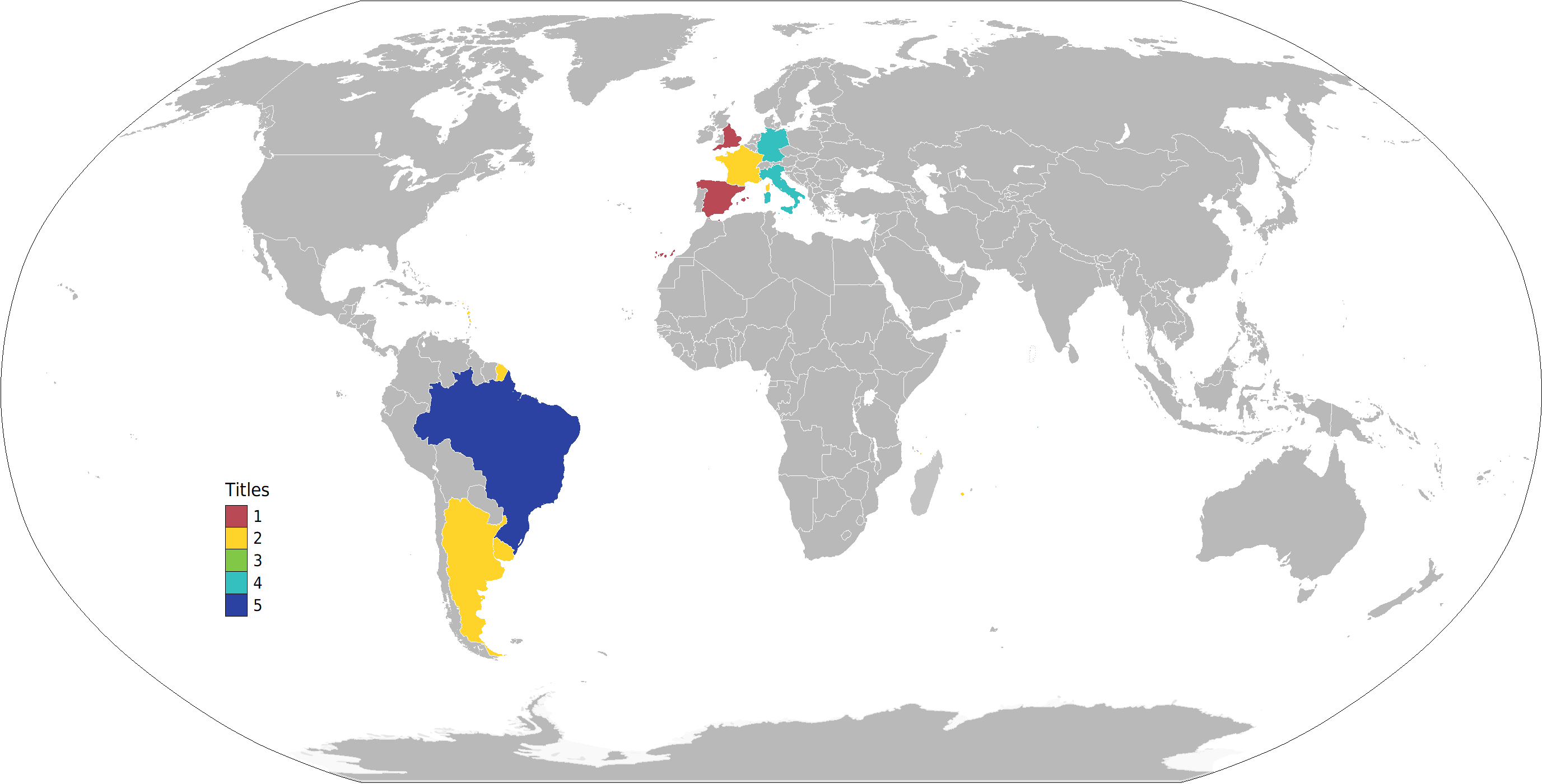 World Cup Winners by Country Map