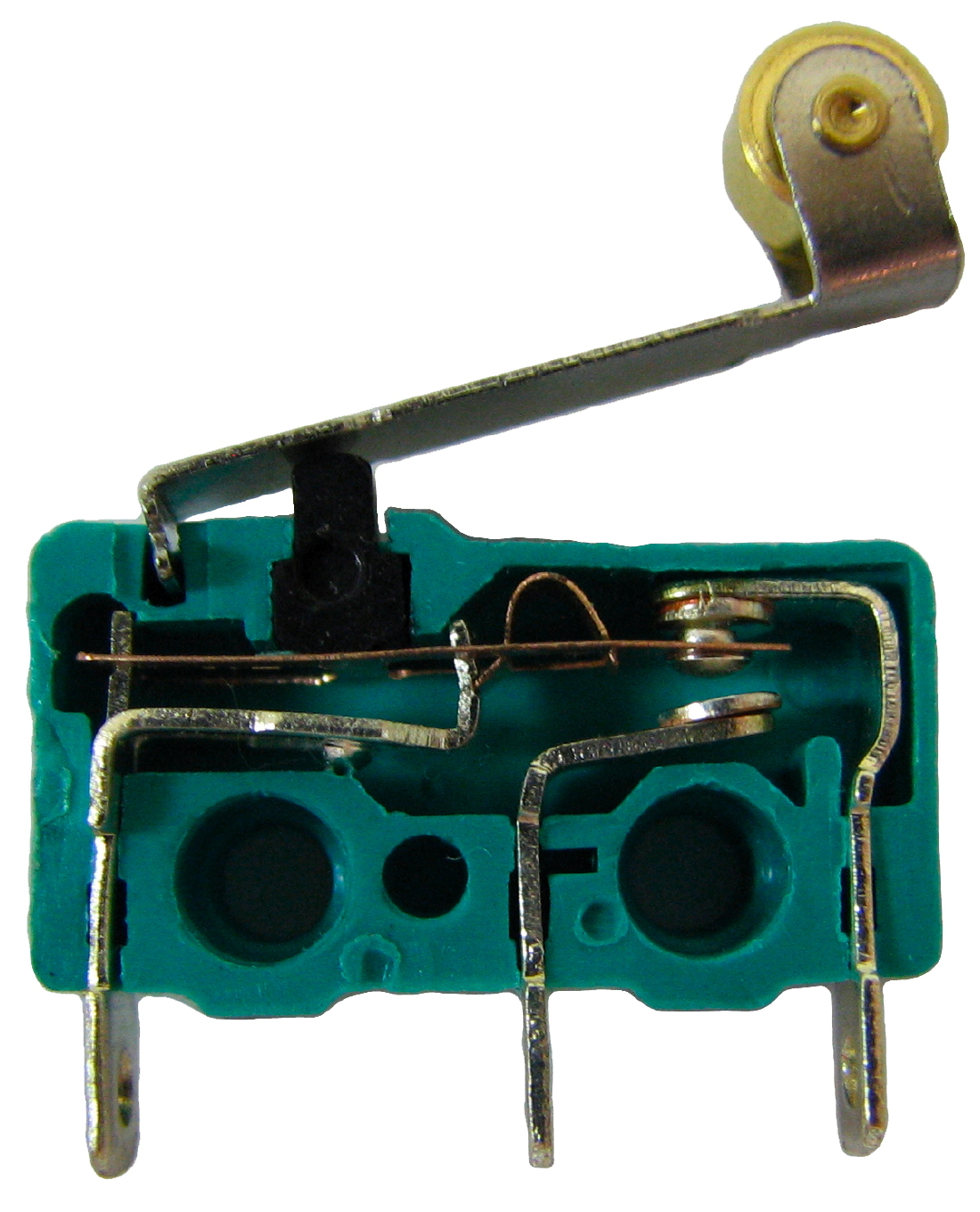 hight resolution of the internals of a micro switch contacts from left to right are common normally open and normally closed