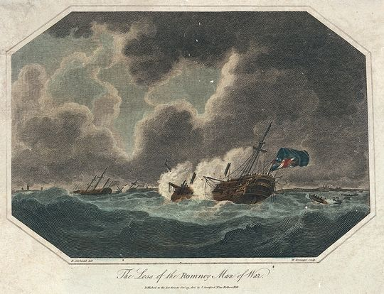 The loss of the Romney, Man-o-war, October 5, 1805; painting by Richard Corbould in the National Maritime Museum (Britain)
