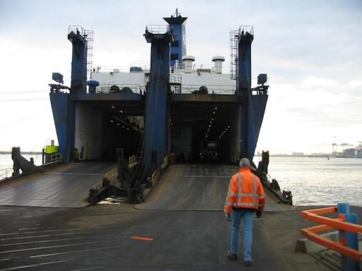 Twin ramps on RoRo ship