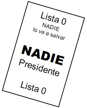 Ejemplo de voto nulo. Típica papeleta para vot...