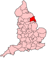 Map of England showing county borders with the East Riding of Yorkshire block filled in red