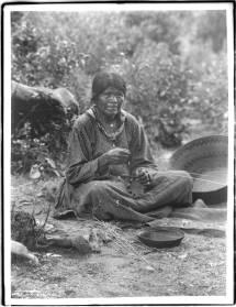 File Paiute Indian Woman Making Basket In Yosemite
