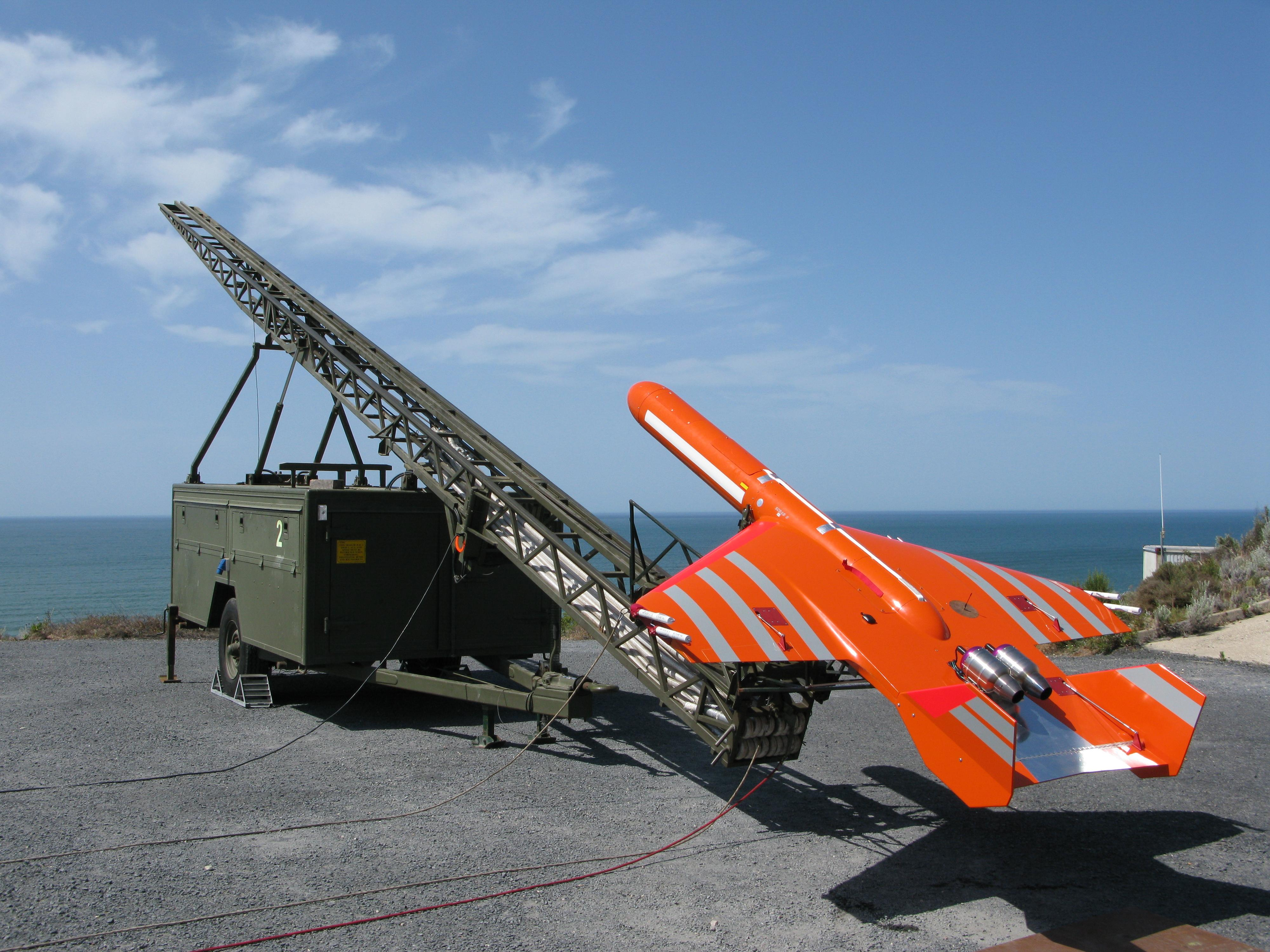 English: SCRAB II target drone ready to launch...