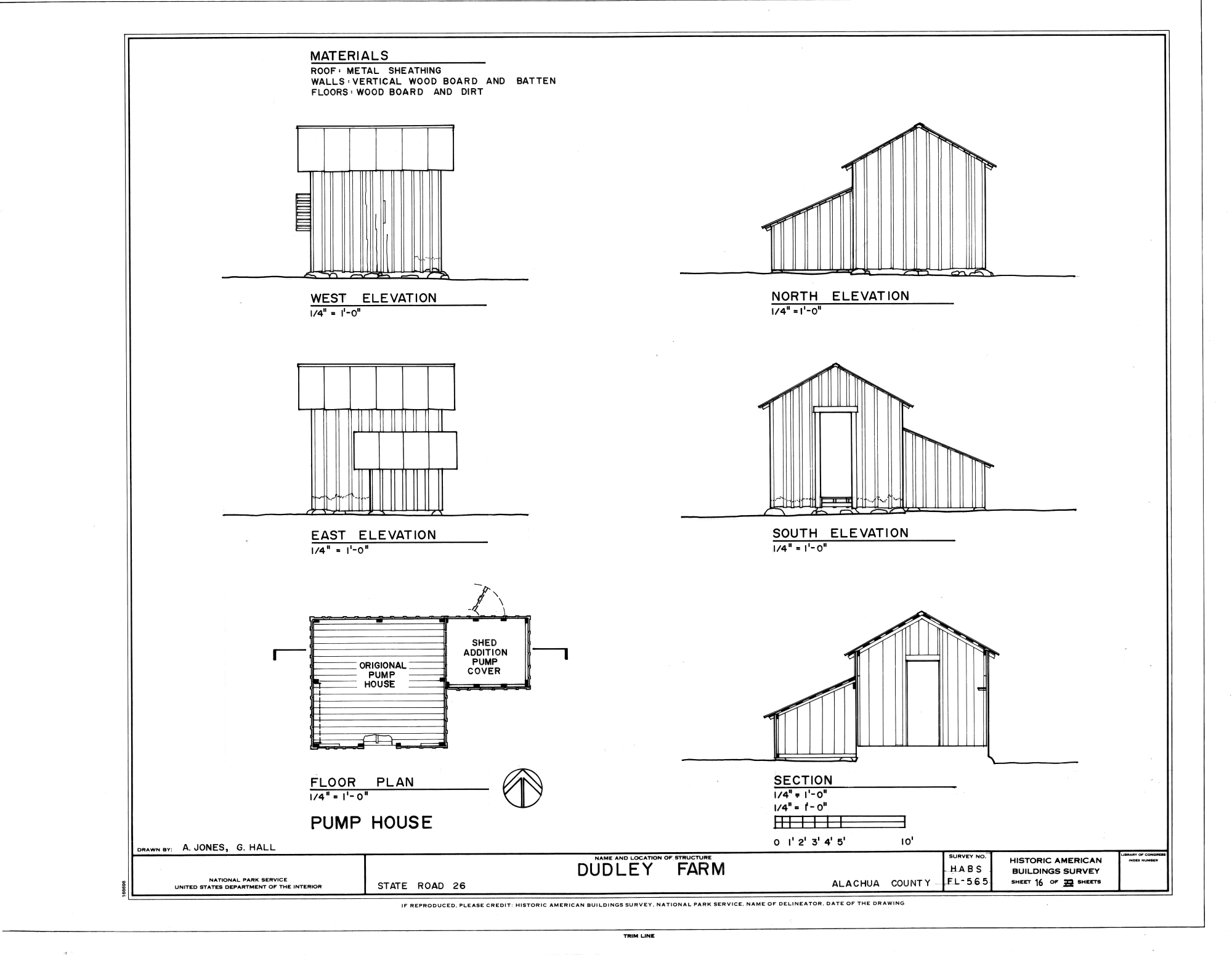 hight resolution of file pump house elevations floor plan and section dudley farm farmhouse and outbuildings 18730 west newberry road newberry alachua county