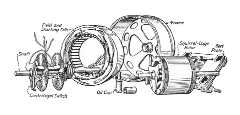 File:Single phase squirrel cage motor, dismantled