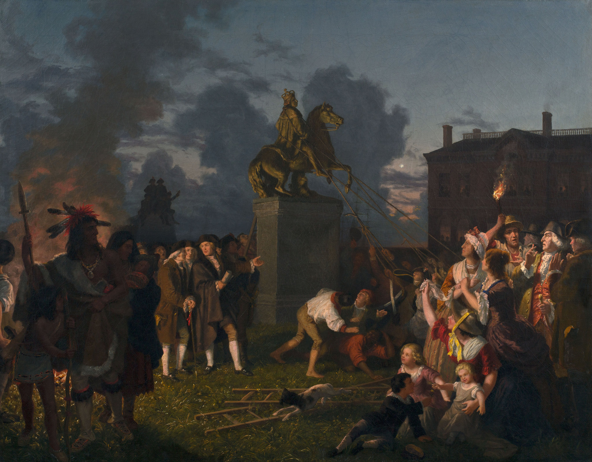 Pulling Down the Statue of King George III, N.Y.C. A romanticized depiction of the Sons of Liberty destroying the statue after the Declaration was read by George Washington to citizens and his troops in New York City on July 9, 1776.