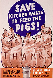 A World War II poster encouraging kitchen wast...
