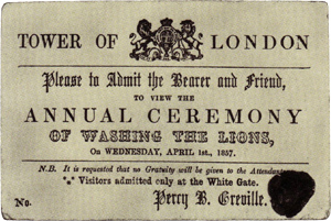 A ticket to the washing of the lion, a traditi...