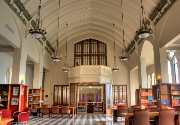 The Ohio Dominican University Library interior.