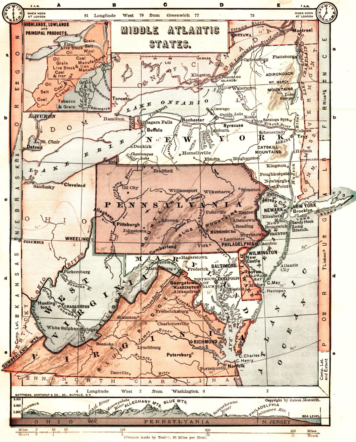 Map Of Middle Atlantic States : middle, atlantic, states, File:Middle, Atlantic, States, Monteith, Map.jpg, Wikimedia, Commons