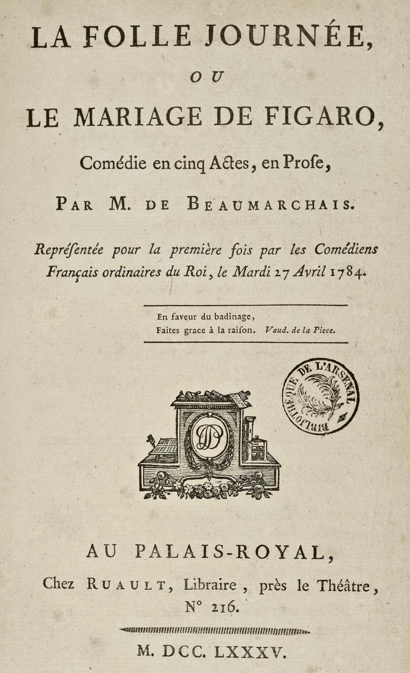 Beaumarchais Le Mariage De Figaro : beaumarchais, mariage, figaro, File:Beaumarchais, Mariage, Figaro, Ruault, Paris, Titel.jpg, Wikimedia, Commons