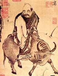 mage classique de Lao Tseu s'en allant vers l'Ouest monté sur un buffle
