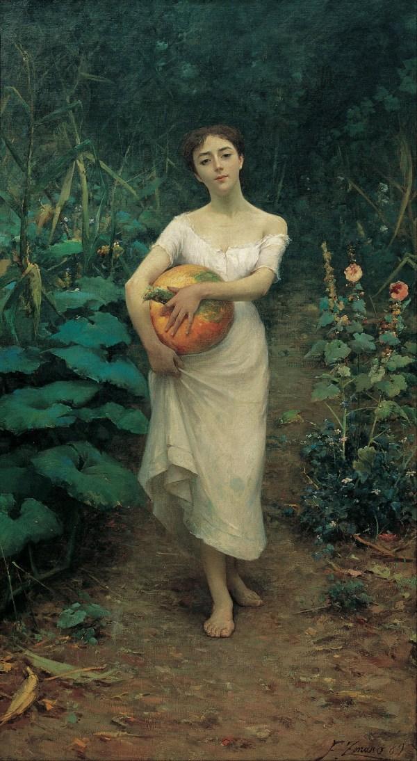Fausto a Young Girl Carrying Pumpkin