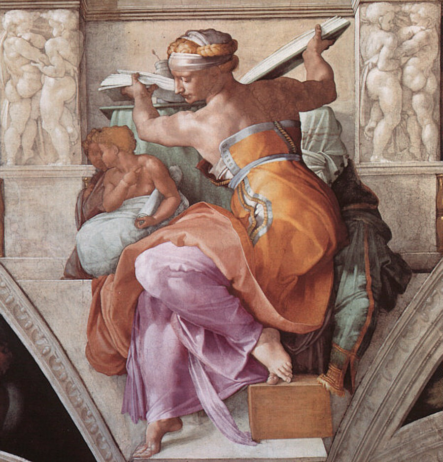 Sistine Chapel ceiling, Michelangelo, The Libyan Sibyl, post restoration.