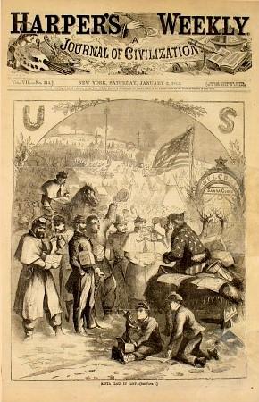 Harpers Weekly vom 3. Januar 1863, gezeichnet von Thomas Nast, Santa gibt Unions Soldaten Geschenke, Public Domain