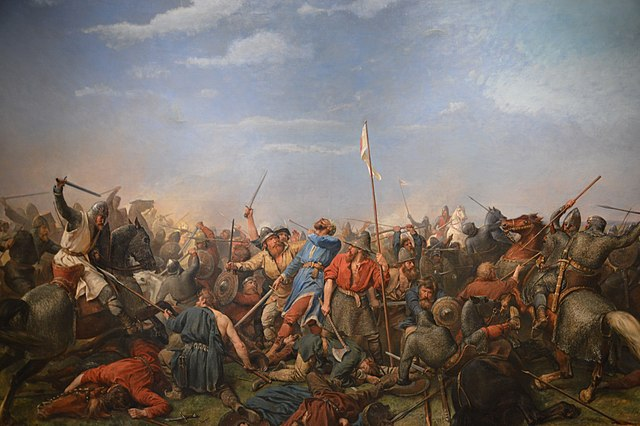 The Battle of Stamford bridge, 1870, by Peter Nicolai Arbo (Wikimedia Commons)