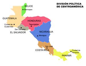 Mapa división política de Centroamérica con ca...
