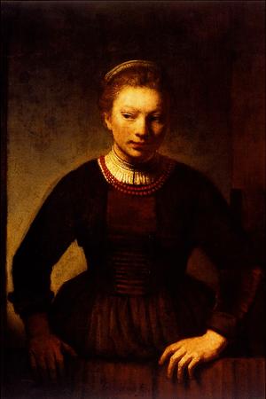 Girl at an Open Half-Door - Rembrandt Harmensz...
