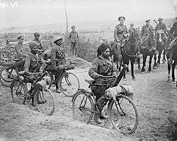 Indian bicycle troops Somme 1916 IWM Q 3983.jpg